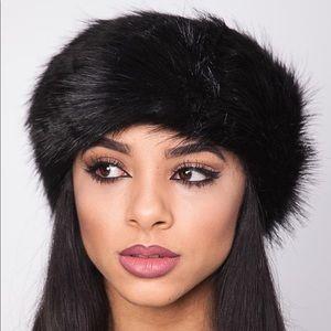 Black Faux Fur Winter Headbands